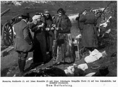 Kronprinz Konstantin auf dem Schlachtfelde 1913