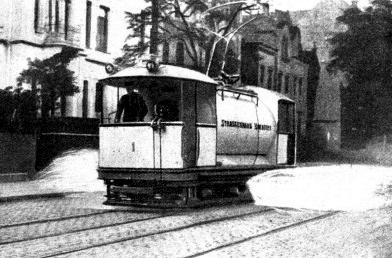 Straßenbahnsprengwagen in Hannover 1913