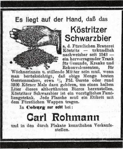 Köstritzer Schwarzbier 1913