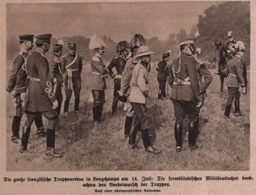 Die große französische Truppenrevue in Longchamps 1914