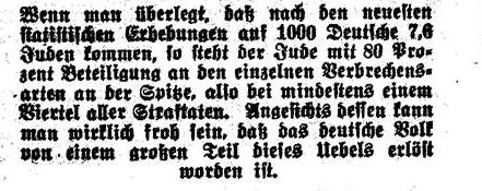 jüdischer Anteil am Verbrechen 1935