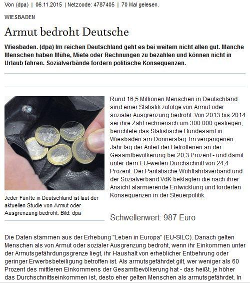 Armut bedroht Deutsche