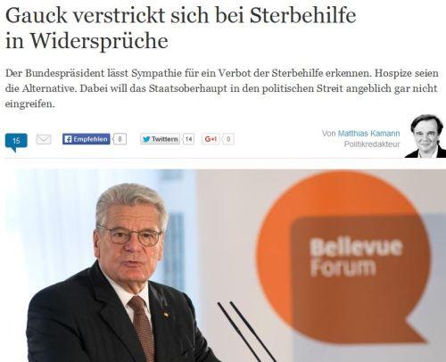 Gauck hat Angst vor Sterbehilfe