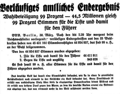 Vorläufig amtliches Endergebnis 29.03.1936